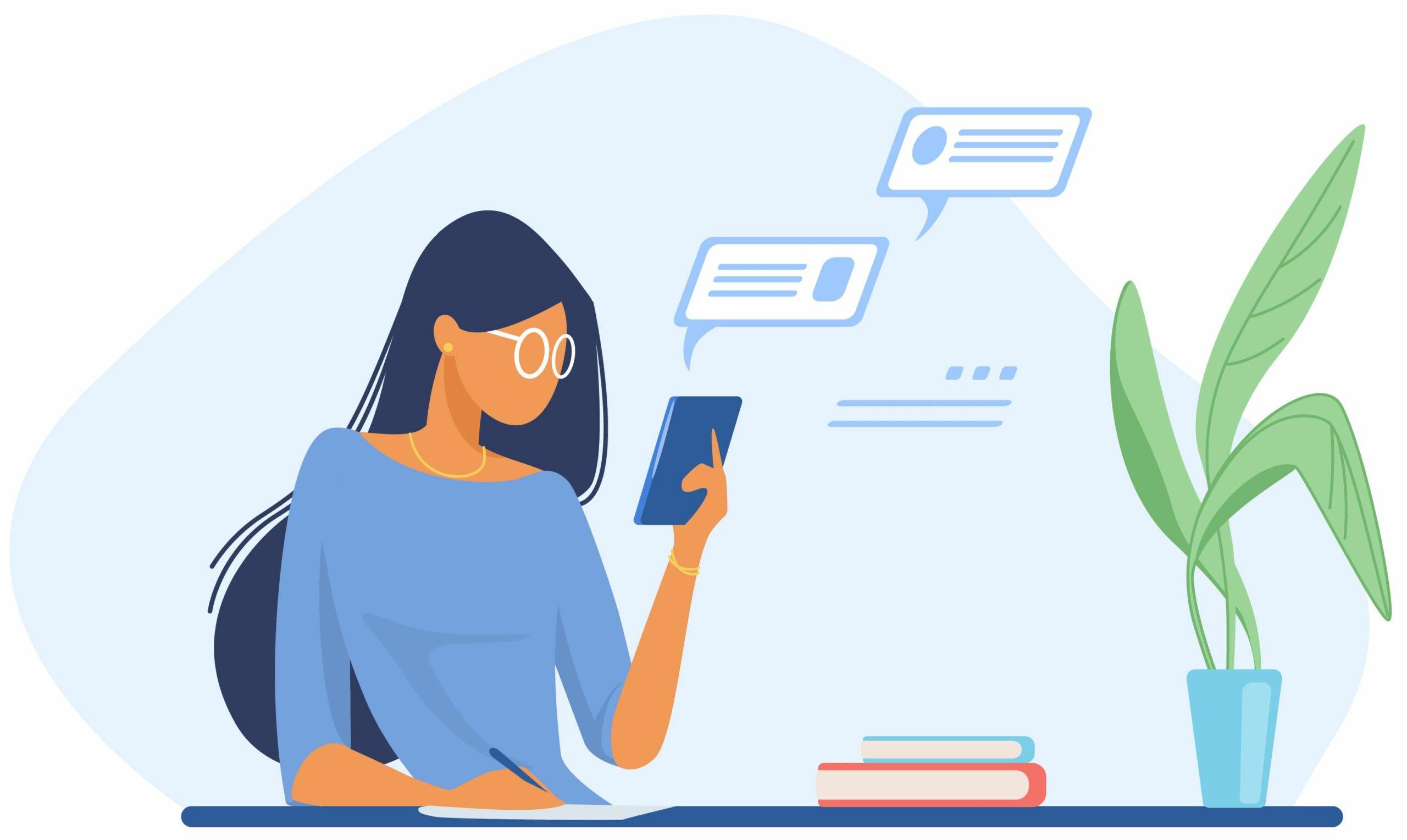 Femme recevant des notifications sur son smartphone.