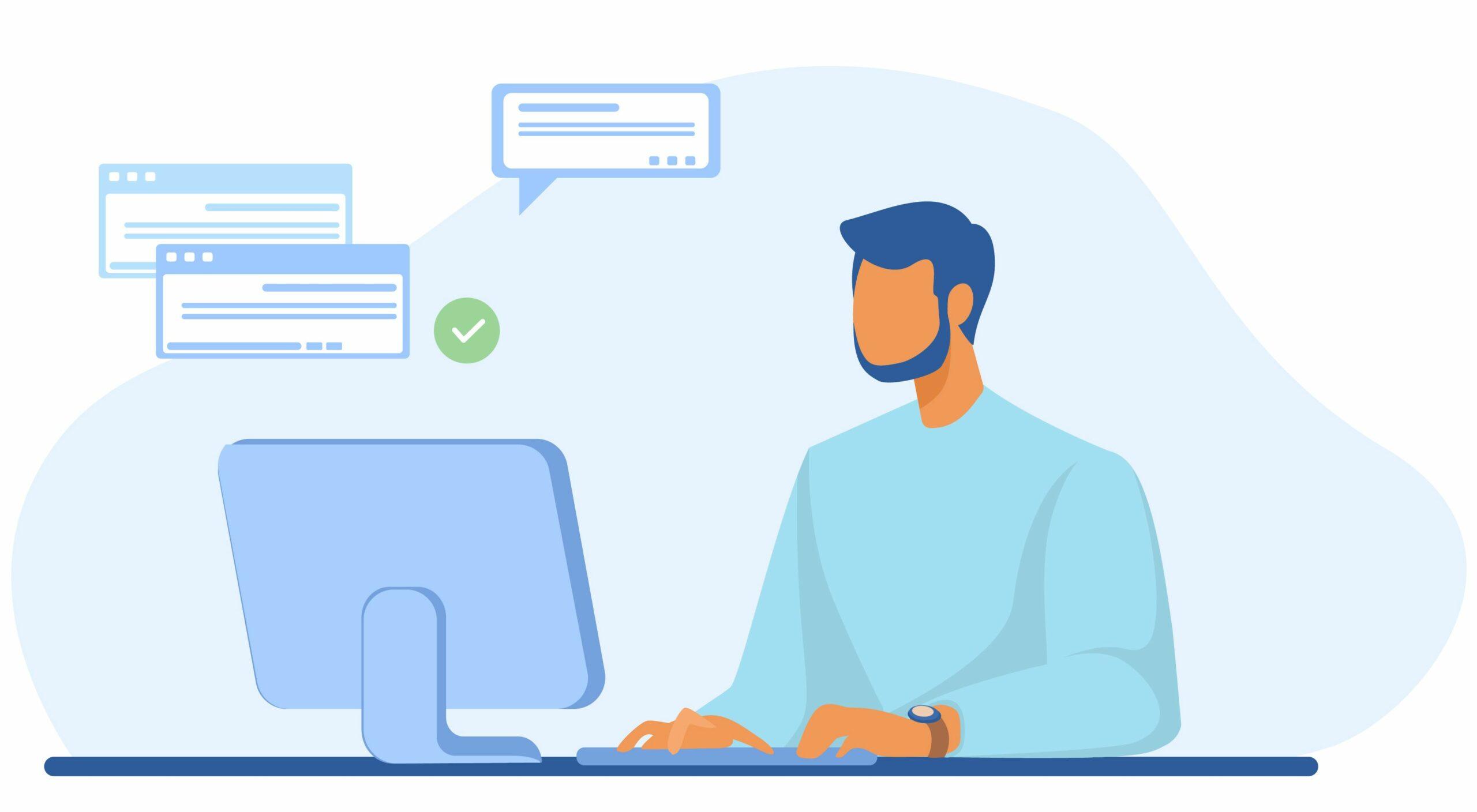 Homme envoyant des fichierssur son ordinateur
