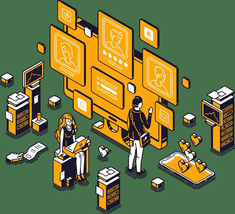 Des informaticiens utilisent des écrans traitant de cloud, de clients ou de serveurs.